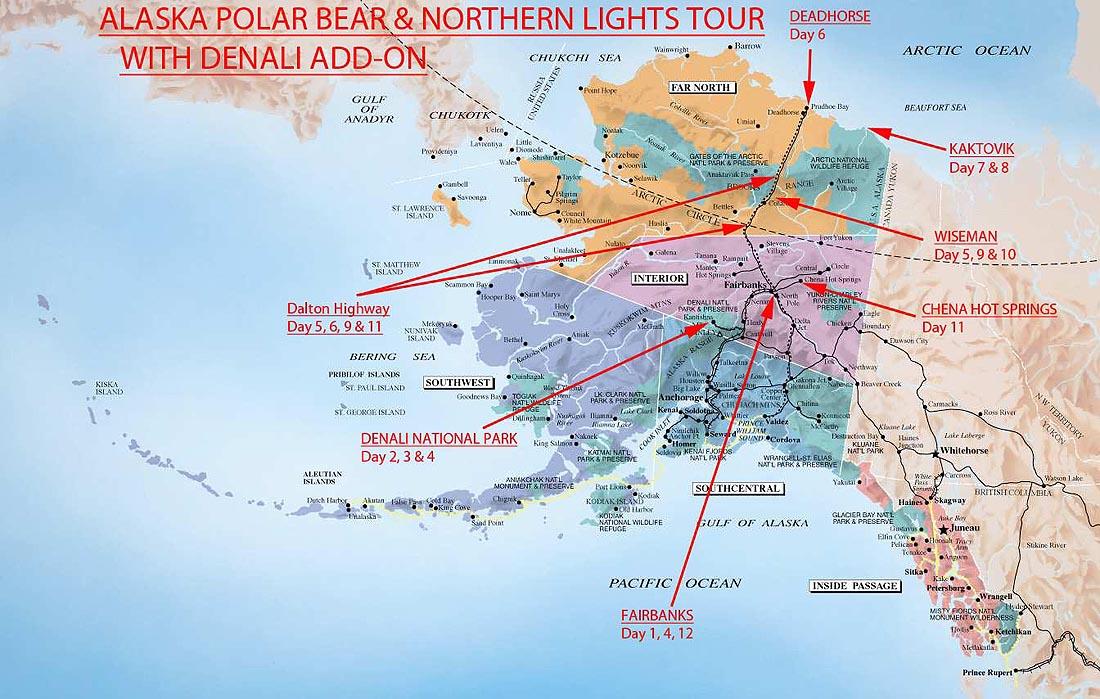 Alaska-Map-Alaska-Polar-Bear-Northern-Lights-Tour-with-Denali-Add-on