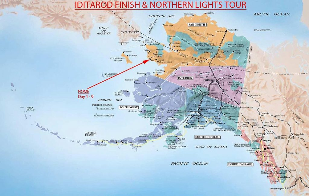 Alaska-Map-Iditarod-Finish-Northern-Lights-Tour
